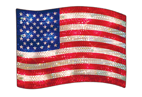 16 Inch Shimmer USA Flag Lighted Window Decoration - 20 Clear Lights