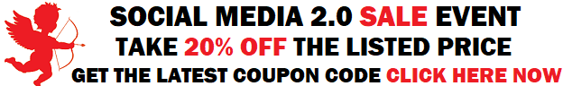 Holiday Shopping Sale Event Take 20 Percent off with coupon code: socialmediasale20