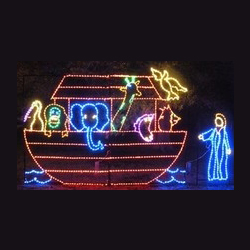 Noahs Arc with Noah LED Lighted Outdoor Commercial Christmas Decoration