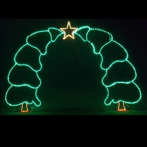 Walk Thru Tree Arch with Star Commercial LED Lighted Outdoor Christmas Decoration