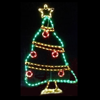 Christmas Tree Decorated LED Lighted Outdoor Christmas Decoration
