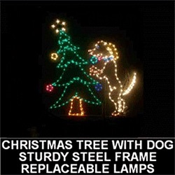 Puppy Dog Decorating Christmas Tree Animated LED Lighted Outdoor Lawn Decoration