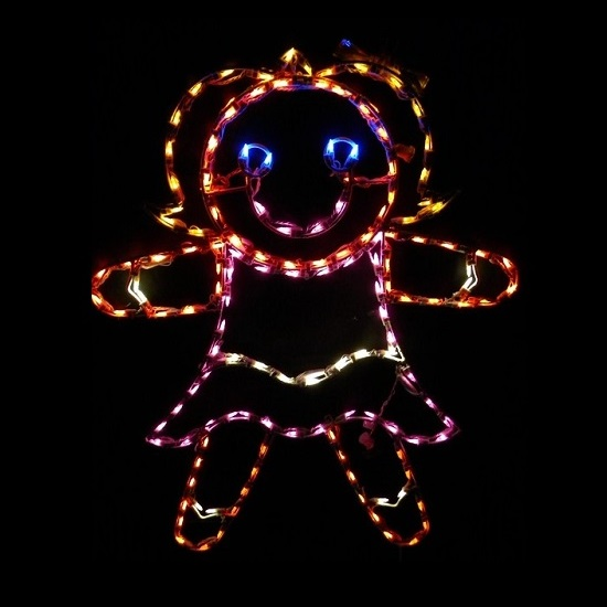 Gingerbread Girl Outdoor LED Lighted Christmas Decoration
