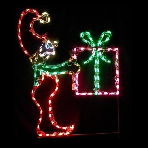 Elf Carrying Christmas Gift LED Lighted Outdoor Christmas Decoration
