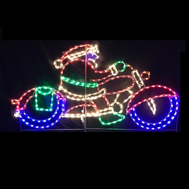 Santa on Motorcycle LED Lighted Outdoor Christmas Decoration