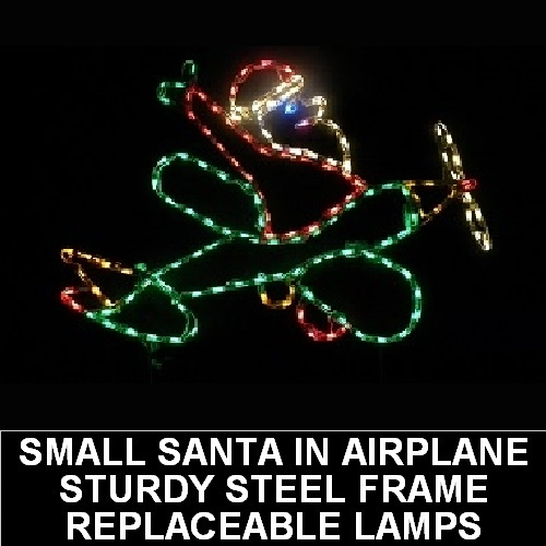 Santa Claus in Airplane Outdoor LED Lighted Christmas Decoration