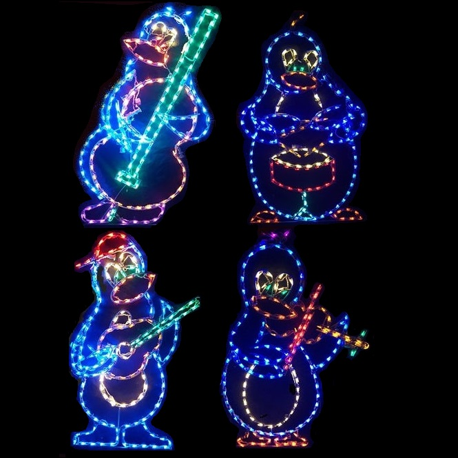 Penguin Animated Band of Musicians LED Lighted Outdoor Christmas Decoration