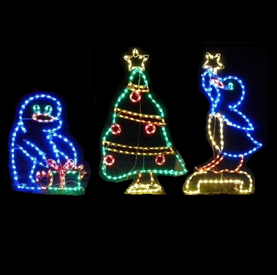 Penguins Decorating A Christmas Tree Animated LED Lighted Outdoor Christmas Decoration