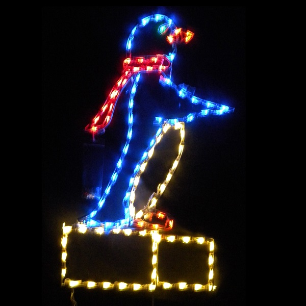 Penguin on Block of Ice LED Lighted Outdoor Christmas Decoration