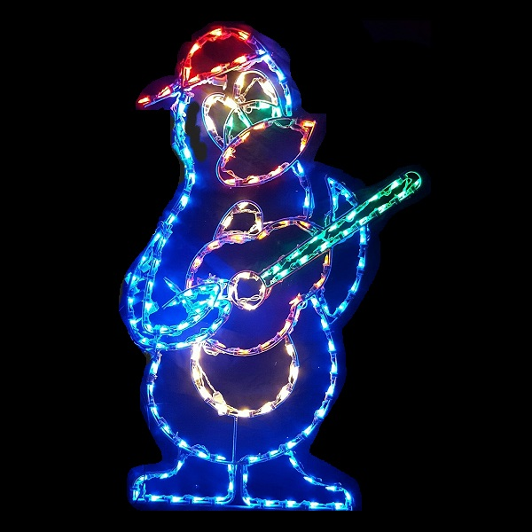 Penguin Playing Guitar Animated LED Lighted Outdoor Christmas Decoration