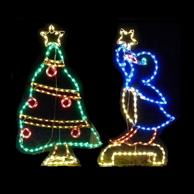 Penguin Putting Star on Christmas Tree Animated  LED Lighted Outdoor Christmas Decoration