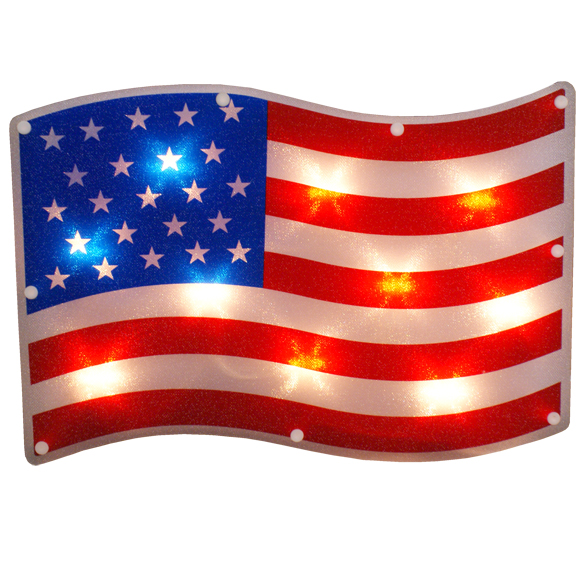 American Flag Lighted Window Patriotic Decoration - 10 Incandescent Mini Bulbs