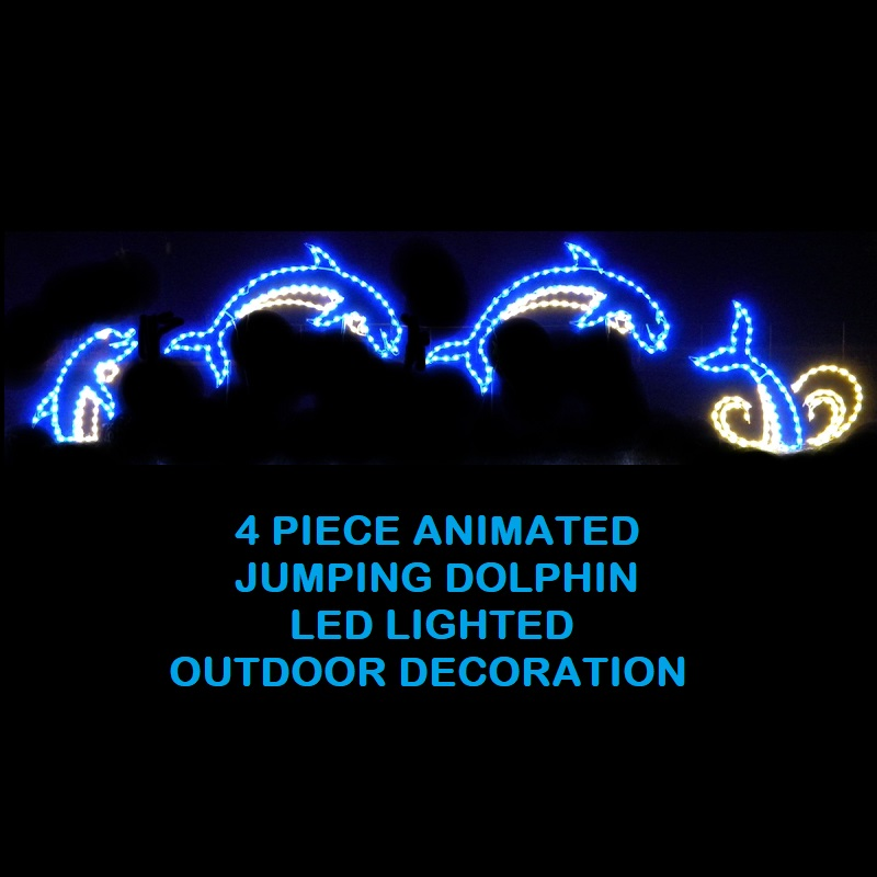 Dolphins Jumping Animated LED Lighted Outdoor Marine Decoration