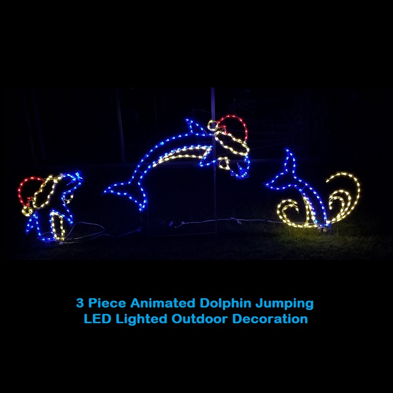 Animated Jumping Dolphins with Santa Hat LED Lighted Outdoor Lawn Decoration