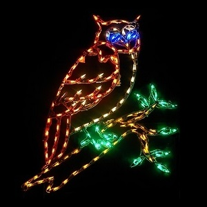 Owl On A Branch LED Lighted Lawn Decoration