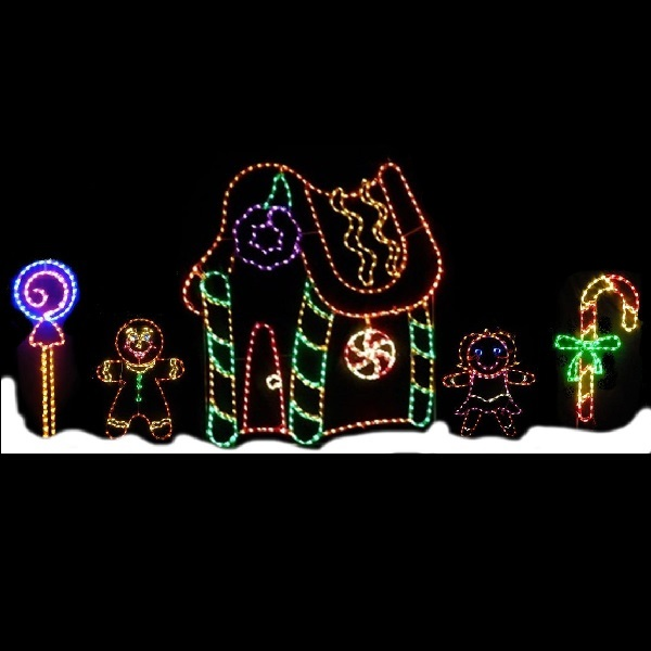 Gingerbread House Scene LED Lighted Outdoor Christmas Decoration