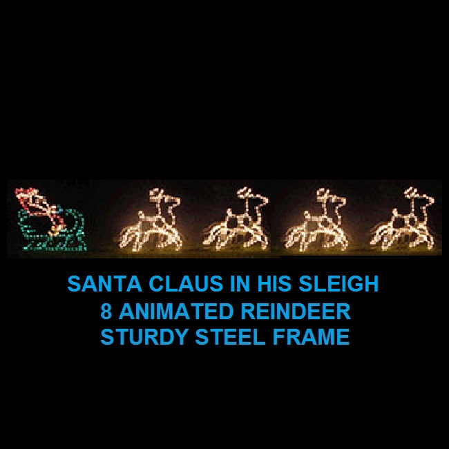 Santa in Sleigh with 8 Animated Reindeer LED Lighted Outdoor Christmas Decoration