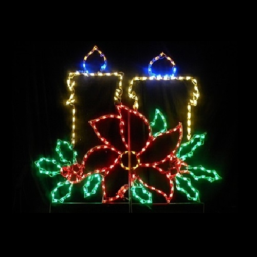 Christmas Candles with Poinsettia LED Lighted Christmas Decoration