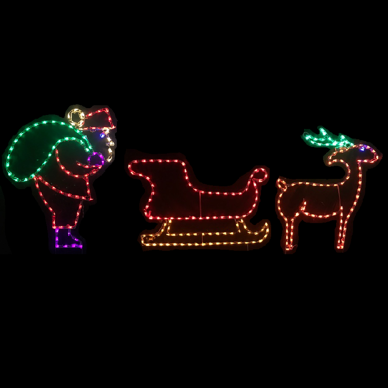 Santa Loading Sleigh with Reindeer LED Lighted Outdoor Christmas Decoration