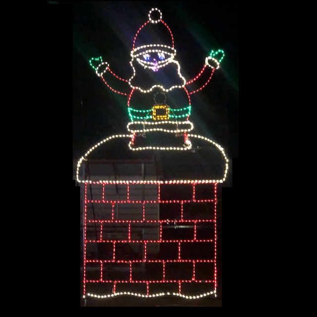 Santa Claus Goes Down the Chimney Animated LED Lighted Outdoor Commercial Christmas Decoration