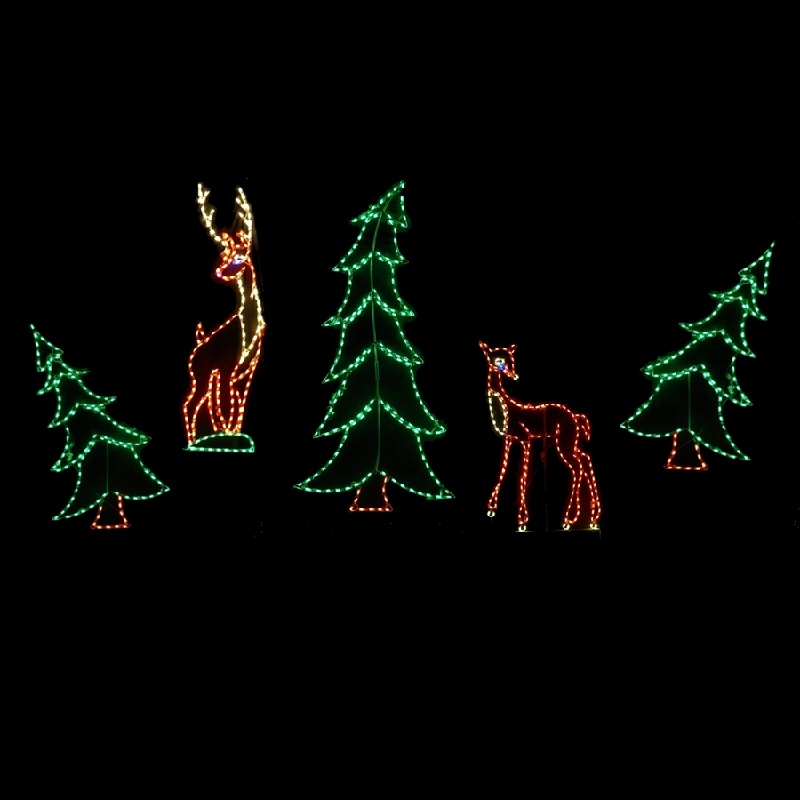 Deer in Woods LED Lighted Outdoor Christmas Decoration