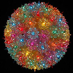 7 Inch Outdoor Lighted Sphere -  100 Multi Lights - Box Of 3
