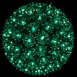 7 Inch Outdoor Lighted Sphere -  100 Green Lights - Box Of 3