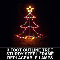 3 Foot Tree Outline LED Lighted Outdoor Lawn Decoration