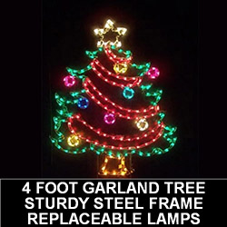 Christmas Tree with Garland LED Lighted Outdoor Christmas Decoration