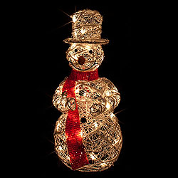 28 Inch Standing White Rattan Snowman - 35 Clear Lights - Box Of 2