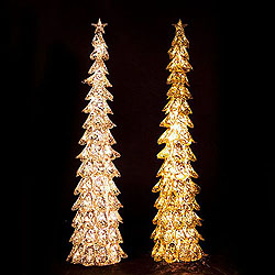 30 Inch Metal Glittered Tree - 20 Clear Lights - 2 Assorted - Box Of 4