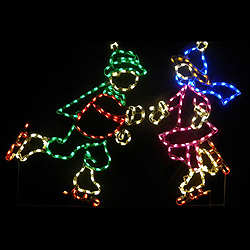 ice skating boy and girl led lighted outdoor lawn decoration - Ice Skate Christmas Decoration