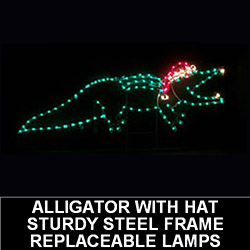 5 Foot Alligator With Santa Hat LED Lighted Outdoor Christmas Decoration