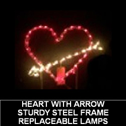 Heart with Arrow LED Lighted Outdoor Valentines Day Decoration
