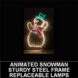 Snowman Tipping Hat Animated Outdoor LED Lighted Christmas Decoration