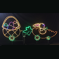 Carrot Car with Basket of Eggs LED Outdoor Lighted Easter Decoration