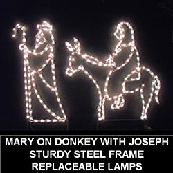Mary Riding Donkey with Joseph LED Lighted Outdoor Christmas Decoration