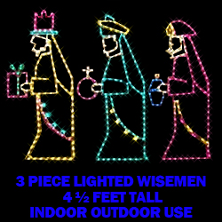 Three Wisemen Warm White LED Lighted Outdoor Christmas Decoration