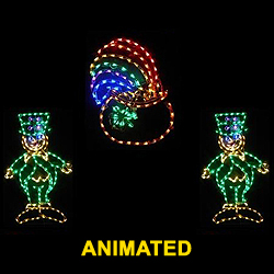 Saint Patrick's Day 2 Dancing Leprechauns Around A Pot Of Gold LED Lighted Decoration