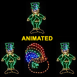 Saint Patrick's Day 3 Dancing Leprechauns Around A Pot Of Gold LED Lighted Decoration