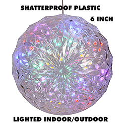 6 Inch Outdoor Crystal Ball - 30 Multi LEDs