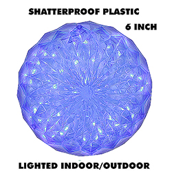 6 Inch Outdoor Crystal Ball - 30 Blue LEDs