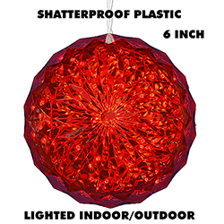 6 Inch Outdoor Crystal Ball - 30 Red LEDs