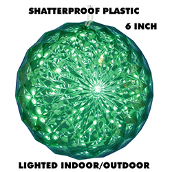 6 Inch Outdoor Crystal Ball - 30 Green LEDs