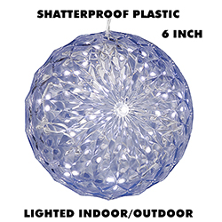 6 Inch Outdoor Crystal Ball - 30 Cool White LEDs