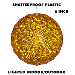 6 Inch Outdoor Crystal Ball - 30 Yellow LEDs