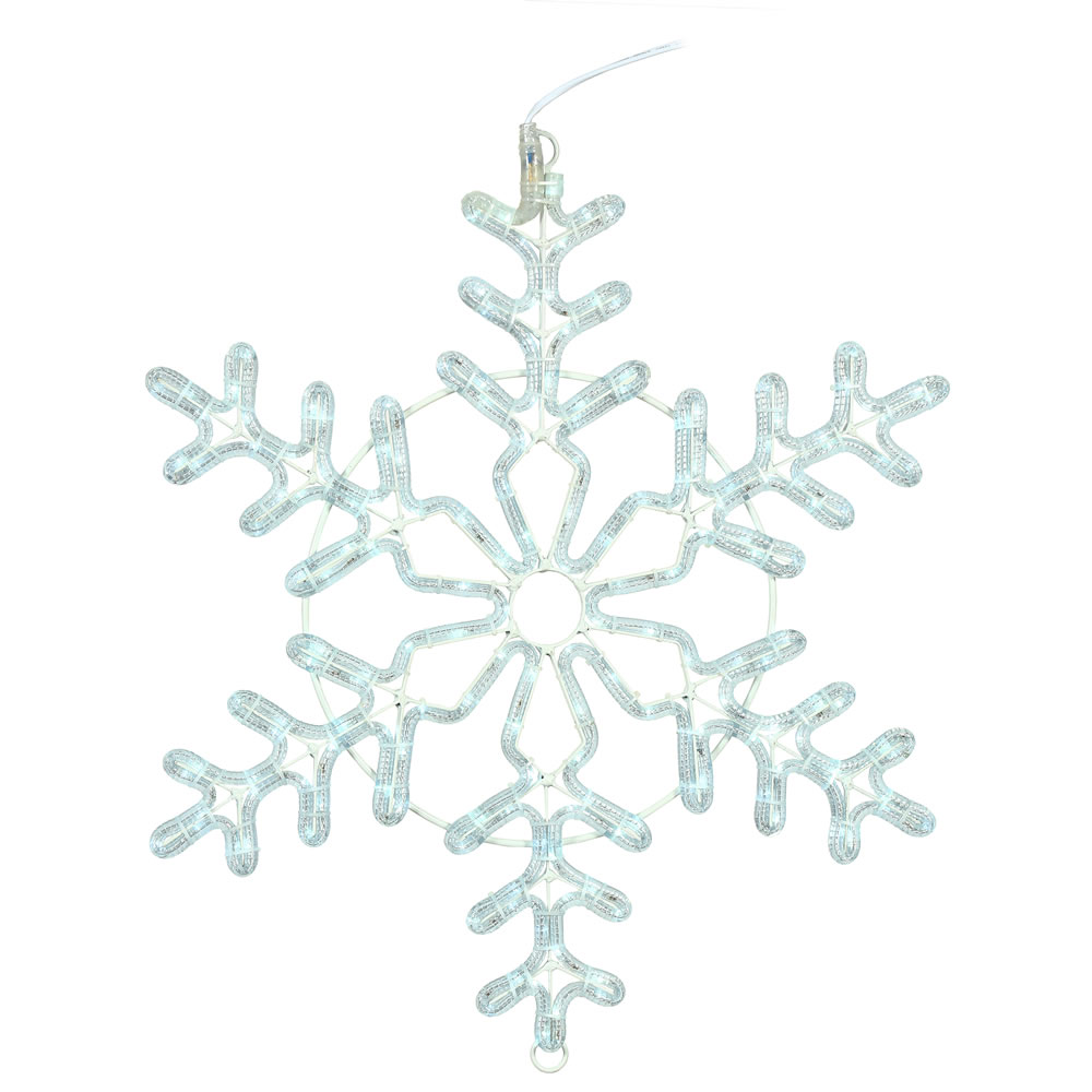 24 Inch LED Ropelight Pure White Forked Snowflake Lighted Christmas Decoration