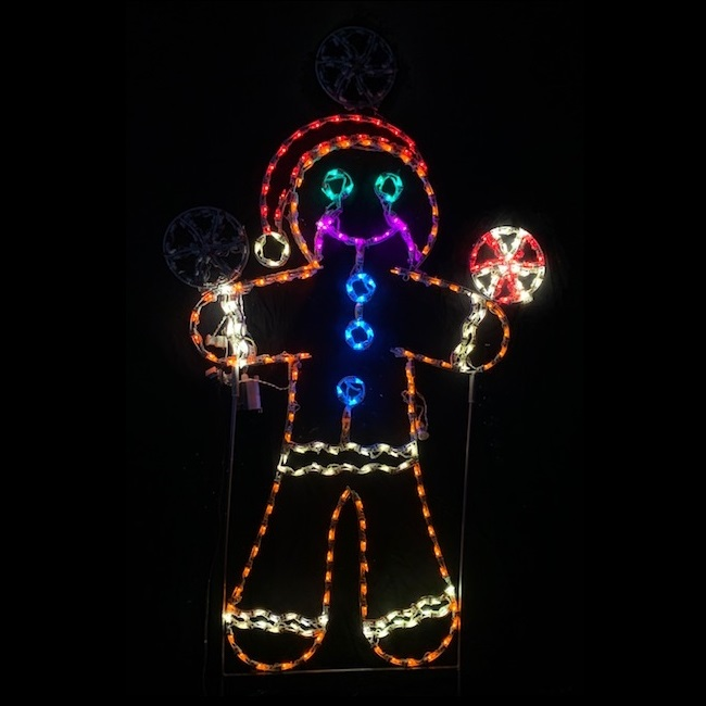 Gingerbread Man Juggling Peppermint Animated LED Lighted Outdoor Christmas Decoration