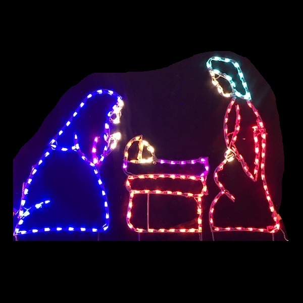 Holy Family Multi Color LED Lighted Outdoor Christmas Decoration