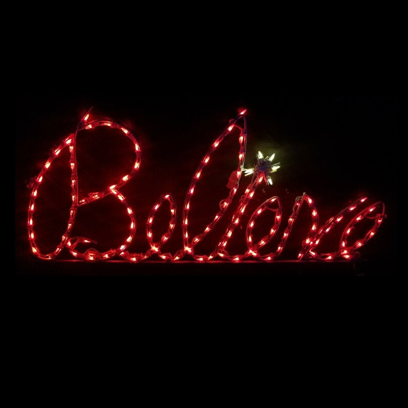 Believe Red Cursive LED Lighted Outdoor Christmas Sign Decoration